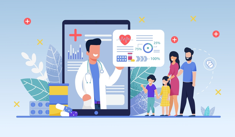 Icons surrounding online doctor telemedicine appointment